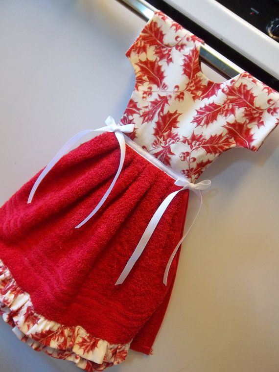Handdoek Ophangen Christmas Towel Dress In Red And White By Itsakris On Etsy