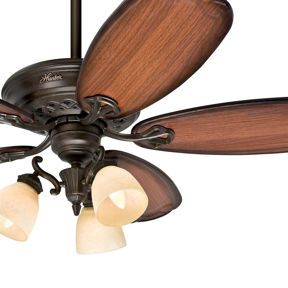 Hunter 54 Tuscan Gold Finish Ceiling Fan 5 Roasted Cherry Blades Ships Free