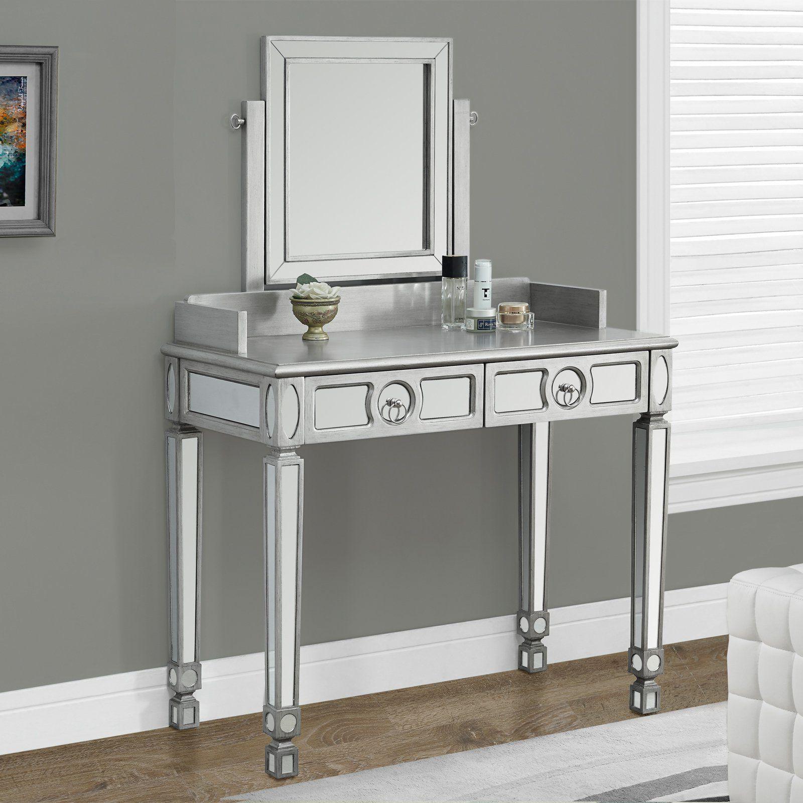 Monarch Specialties Brushed Silver Bedroom Vanity U0026 Mirror | From  Hayneedle.com