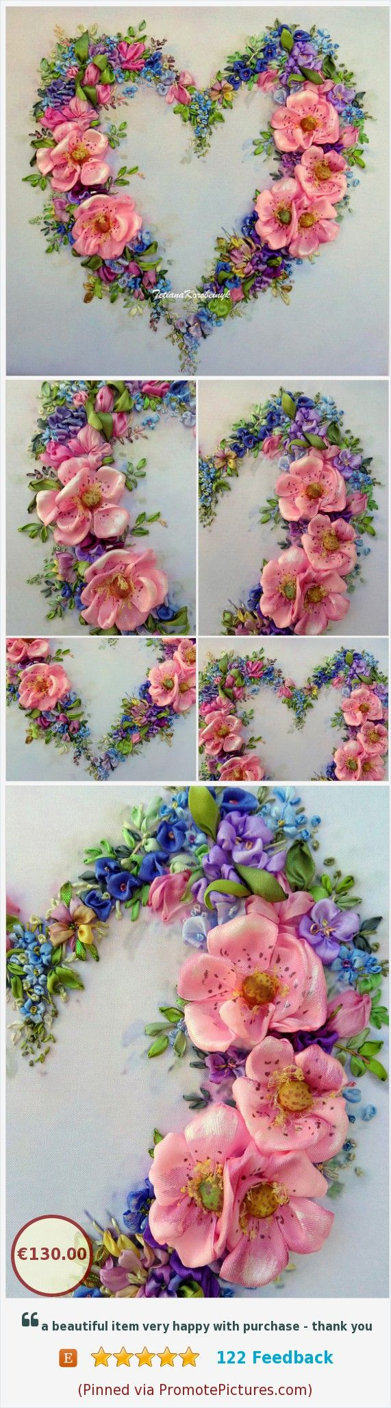 Floral heart ribbon embroidery kit for upholstery pillow embroidered