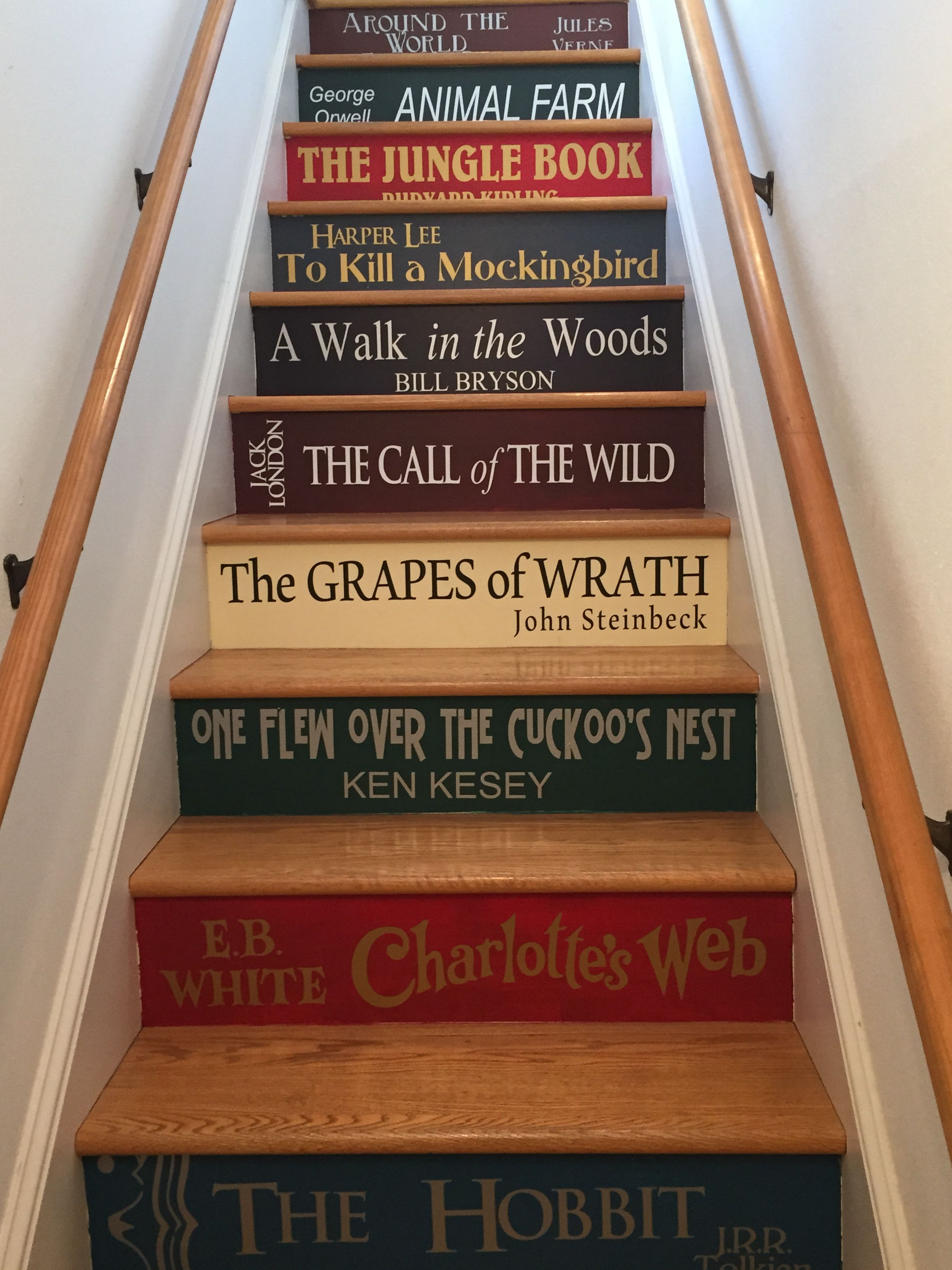 Book staircase stair steps painted staircases painted stairs woman painting book