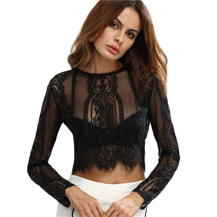 Round Neck Long Sleeve Lace See-through Crop Top-Shirts-Look Love Lust,  https://www.looklovelust.com/products/round-neck-long-sleeve-lace-see-through-crop-top