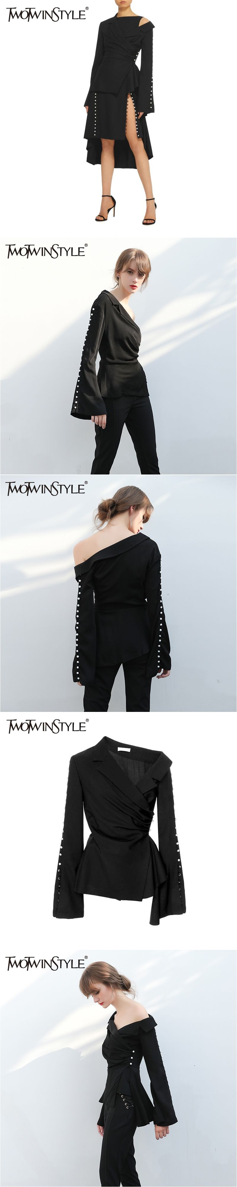 4ce6c2dcdb4 TWOTWINSTYLE Sexy Off Shoulder Women's Blazer Button Flare Long Sleeve  Ruched Female Jacket Black Coat Tops