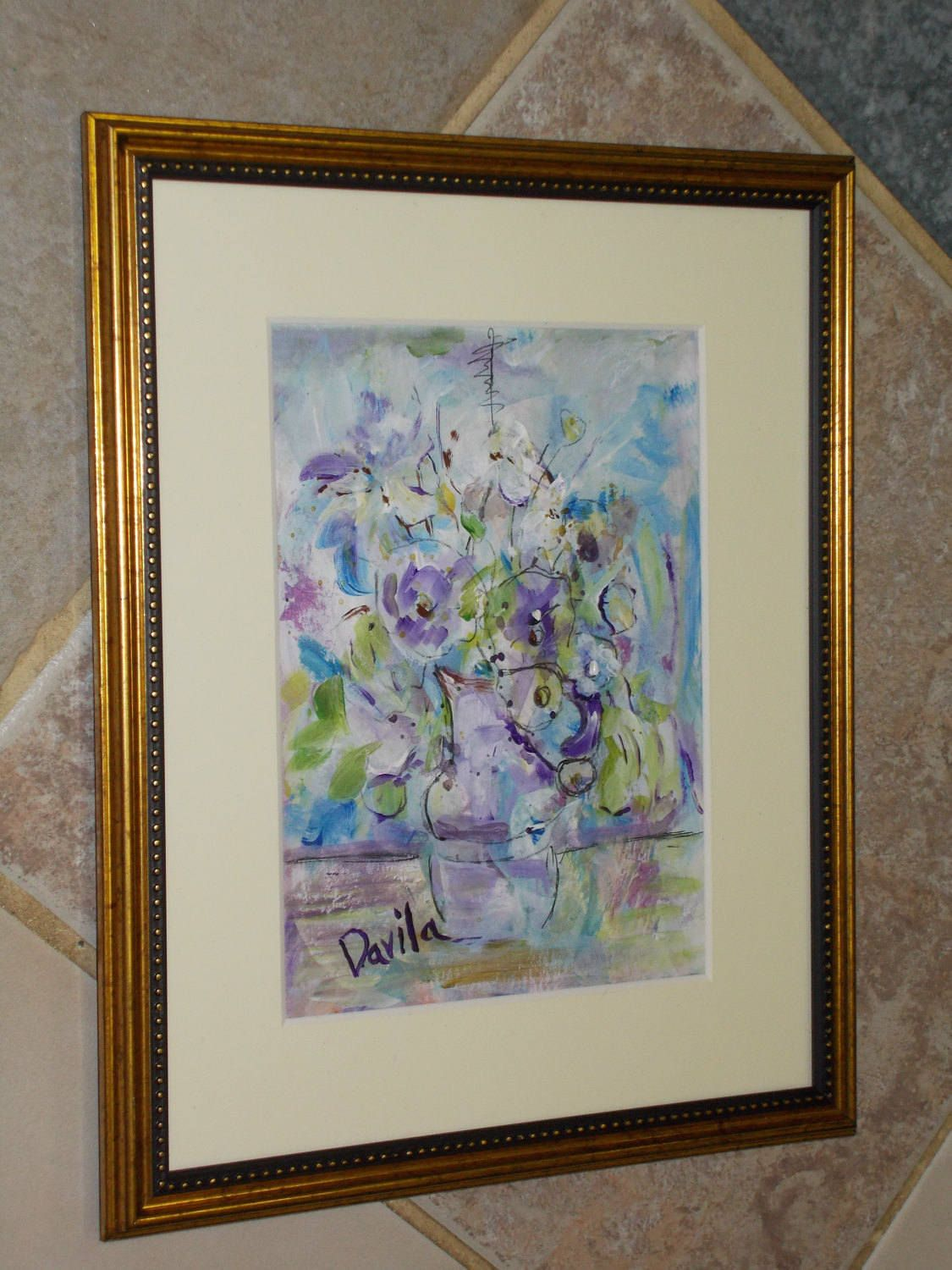 Original Tea Cup Floral acrylic painting hand painted by Texas ...