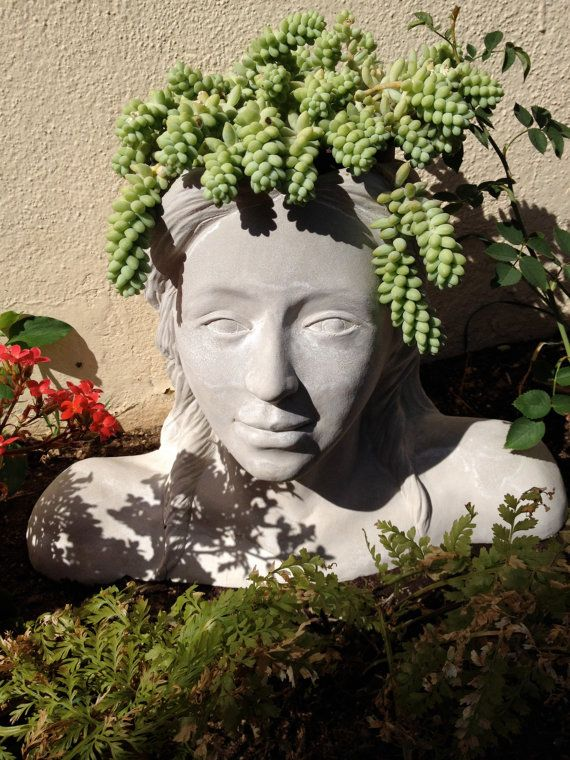 Lady Of The Garden Head Planter By Jcnsculptures On Etsy Head