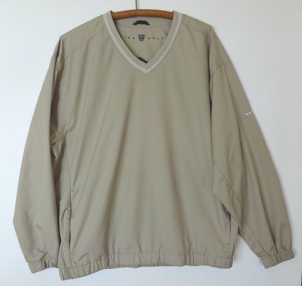 cefad51e2c Men s Nike Golf Pullover Jacket Shirt Size XL Tan V Neck w Pockets  Nike   Sweatshirt