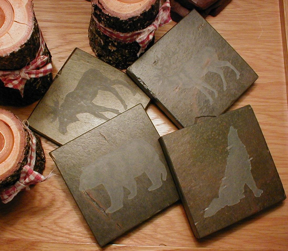 Woodland animals coasters carved natural slate stone drink coaster set bear deer wolf - Stone coasters for drinks ...