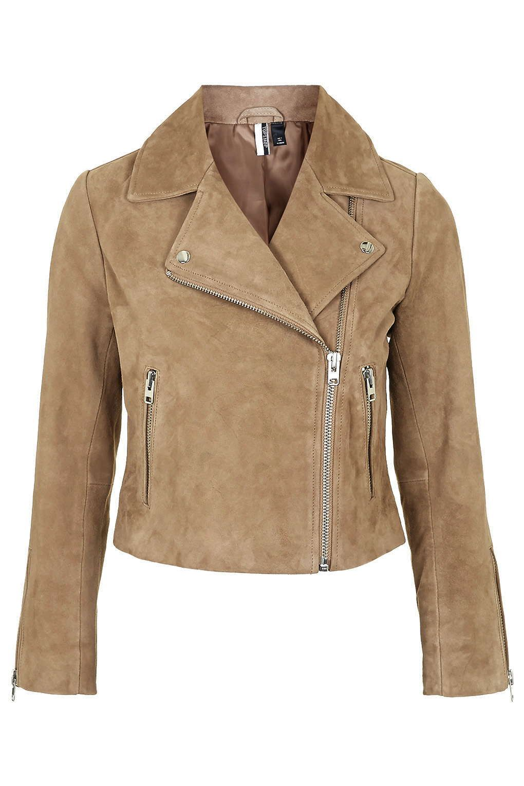 27dc74d44 Suede Biker Jacket - Topshop | If Only Fashion. | Tan leather ...