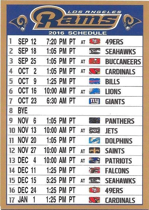 New Los Angeles Rams 2016 Pacific Time Nfl Schedule Fridge Magnet Los Angeles Rams Los Angeles Nfl