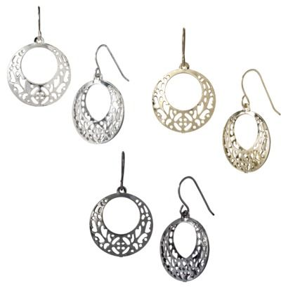 Filigree Disc Drop Earrings - Mixed Metal- Target- $4.99 // The Vampire Diaries, Elena, 3x19