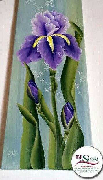 One Stroke Painting Iris Painted By Kristina Uvodic Cizimler