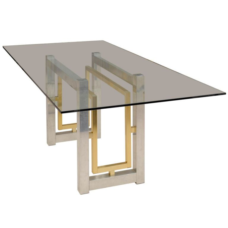 Geometric Chrome Brass Dining Table 1stdibs Com Brass Dining