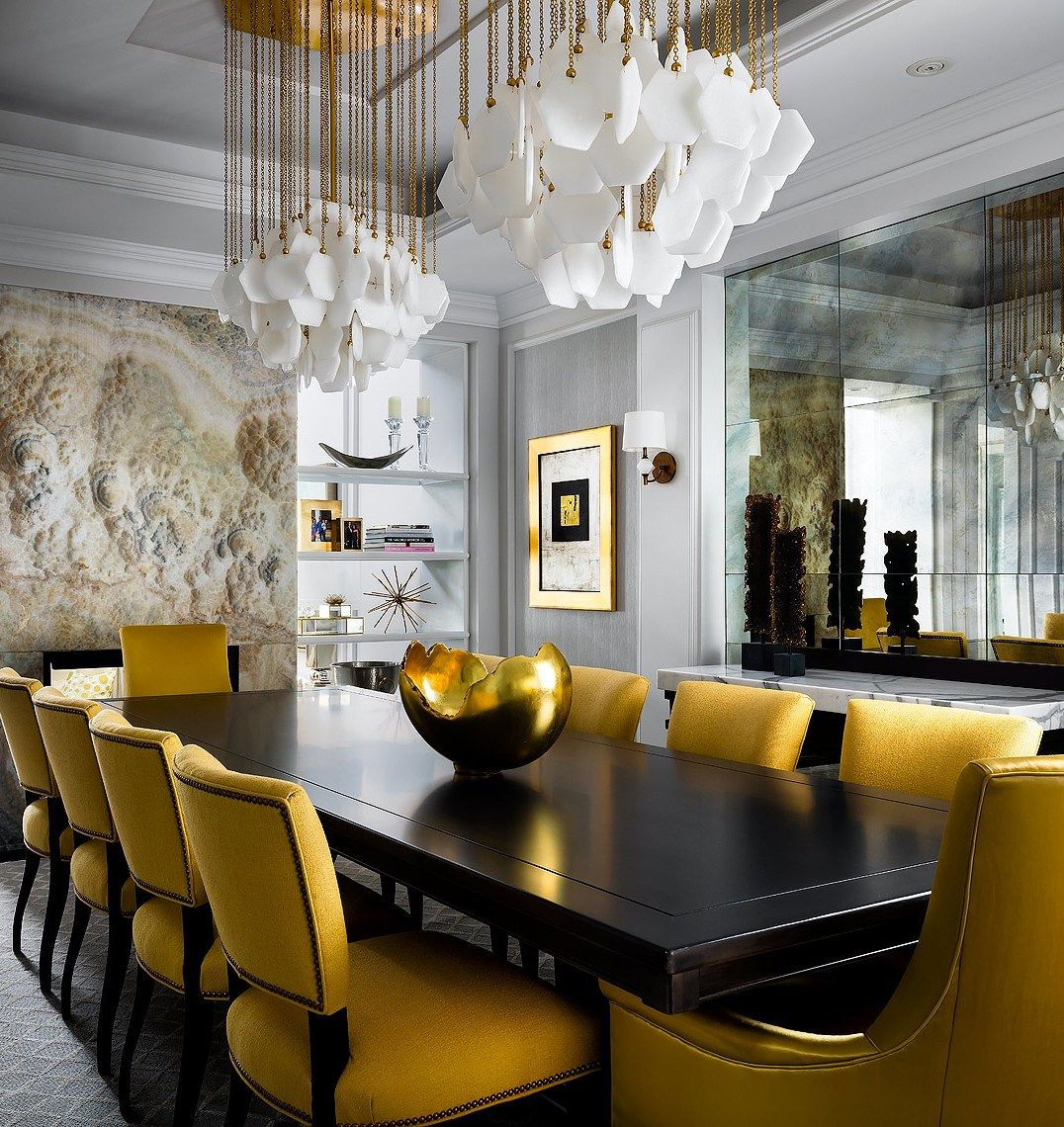 Glamorous Gold Dining Room Photographed By Brandon Barre Elegant Dining Room Luxury Dining Dining Room Design