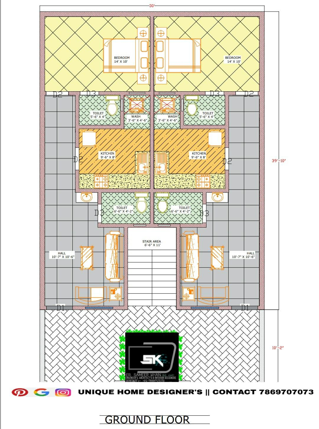 30 X50 House Plan In Two Separate Unit In India Unique House Design Indian House Plans House Plans