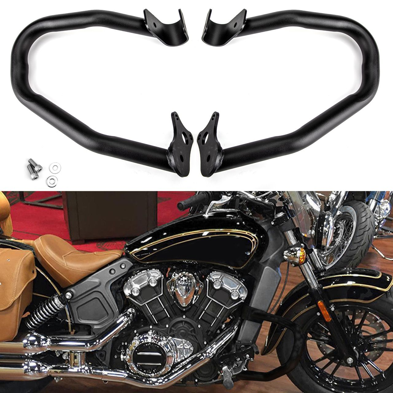 Solid Engine Guard Highway Crash Bars For Indian Scout 2015 2018 Black Indian Scout Indian Motorcycle Classic Harley Davidson [ 1280 x 1280 Pixel ]