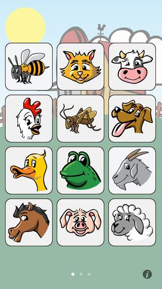 I Hear Ewe · This fun app teaches toddlers all about the sounds that the animals make. When your little one taps on one of the 24 animal icons, he'll hear the sound it makes and a voice telling him the kind of animal it is in English, Spanish, German or Chinese. About a dozen vehicle sounds are also included.