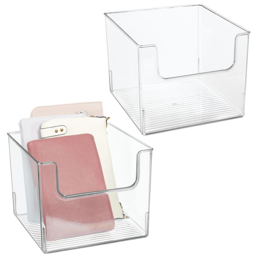 Plastic Closet Storage Bin 10 X 10 X 7 75 In 10 X 10 X 7 75 By Mdesign In 2020 Closet Storage Bins Space Saving Storage Storage Spaces