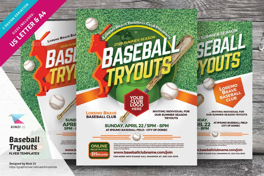 Baseball Tryouts Flyer Templates Ad Ads Advert Baseball Camp Championship Child Children Clinic Coach Coa Flyer Template Flyer Templates