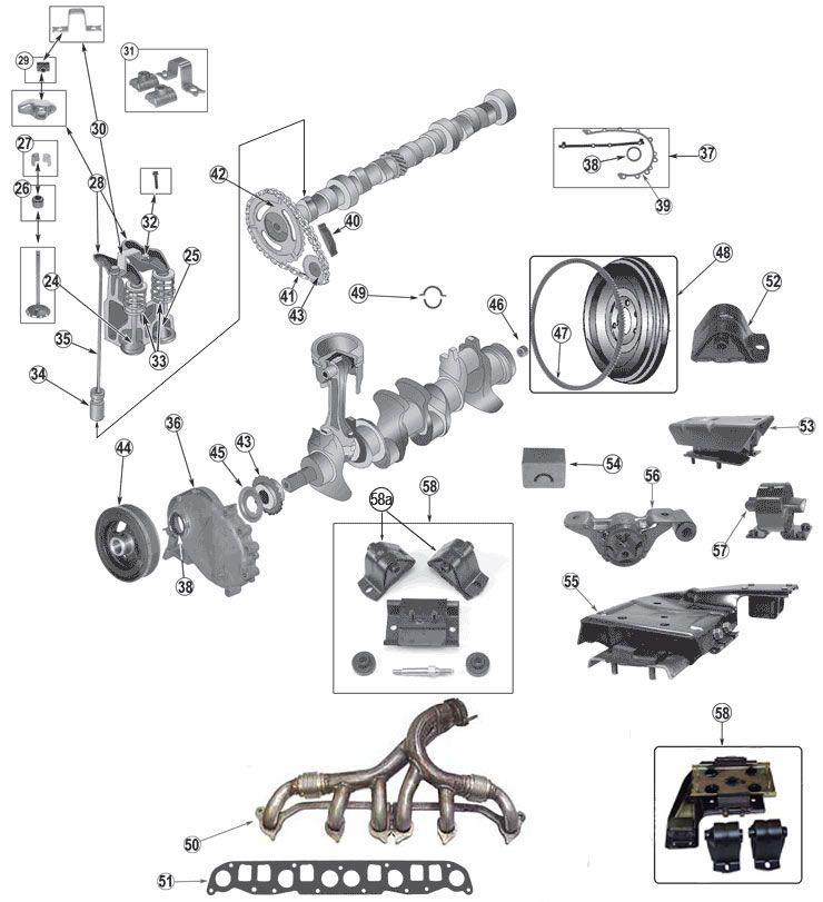 4 0 Liter  242  Amc Engine Parts For Jeep Xj  Zj   U0026 Wj
