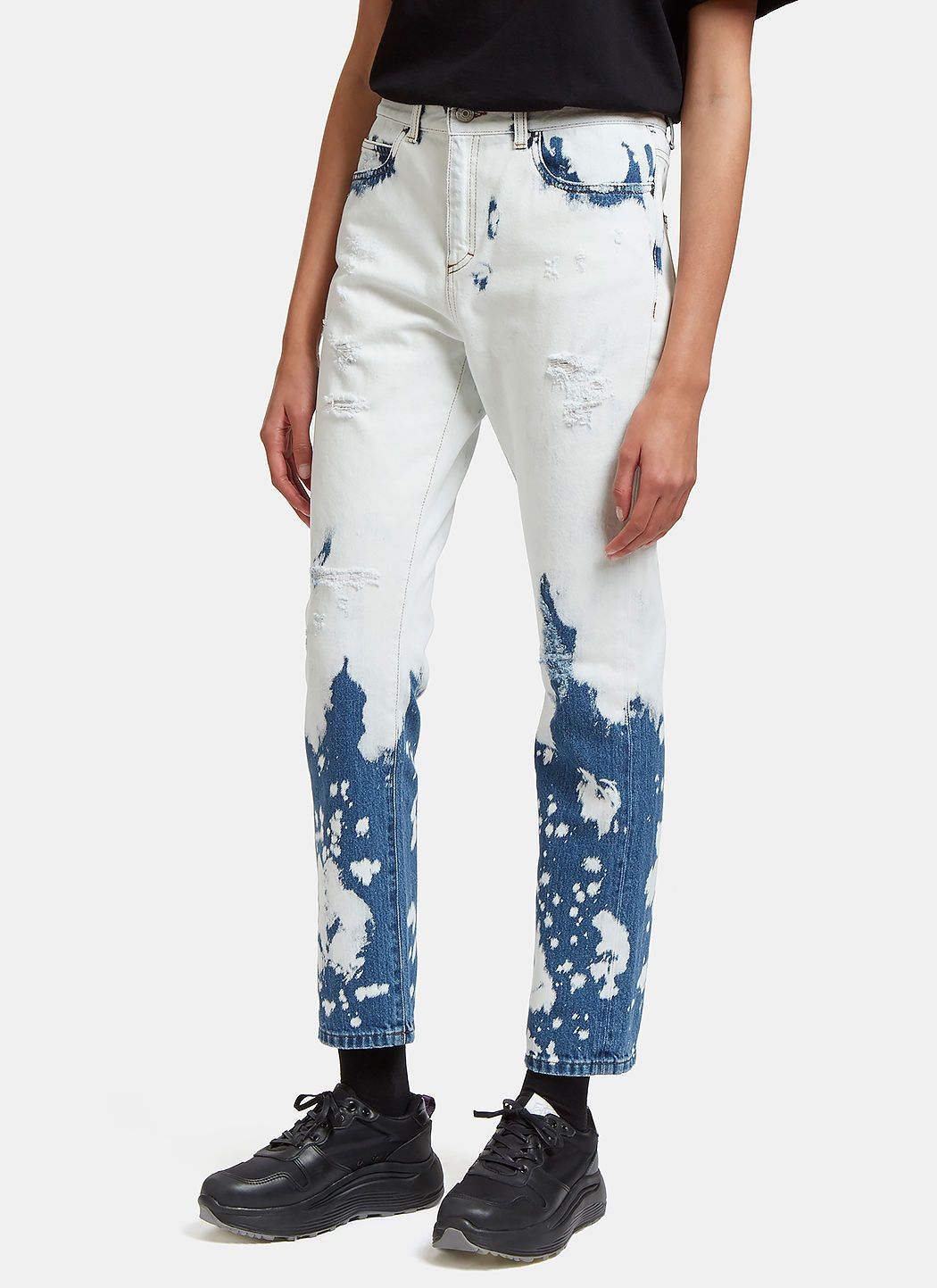 Bleached midrise boyfriend jeans in white bleach jeans