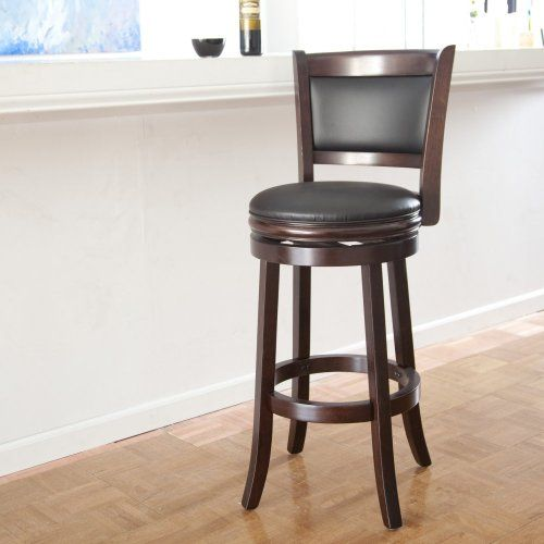 Wooden Swivel Bar Stools 30 Inches With Back Seat Cushion Brown Wood Counter