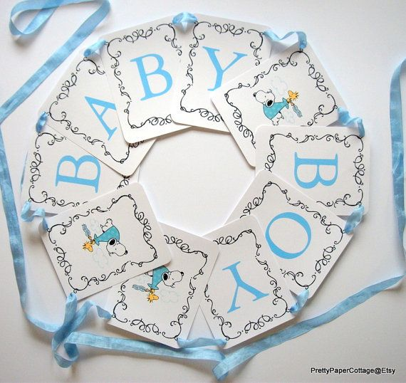 Snoopy Baby Shower Banner Baby Boy Blue Baby By PrettyPaperCottage
