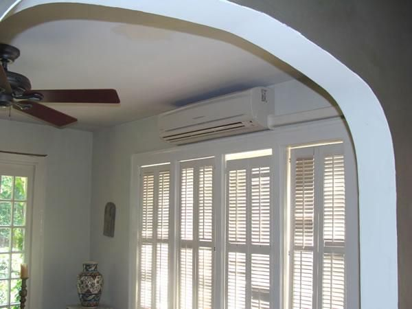 Ductless Heating And Cooling Unit Above French Doors Ductless