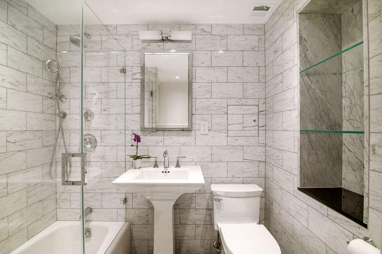 Kohler Memoirs Stately Pedestal Sink Shower Doors Glass Shower