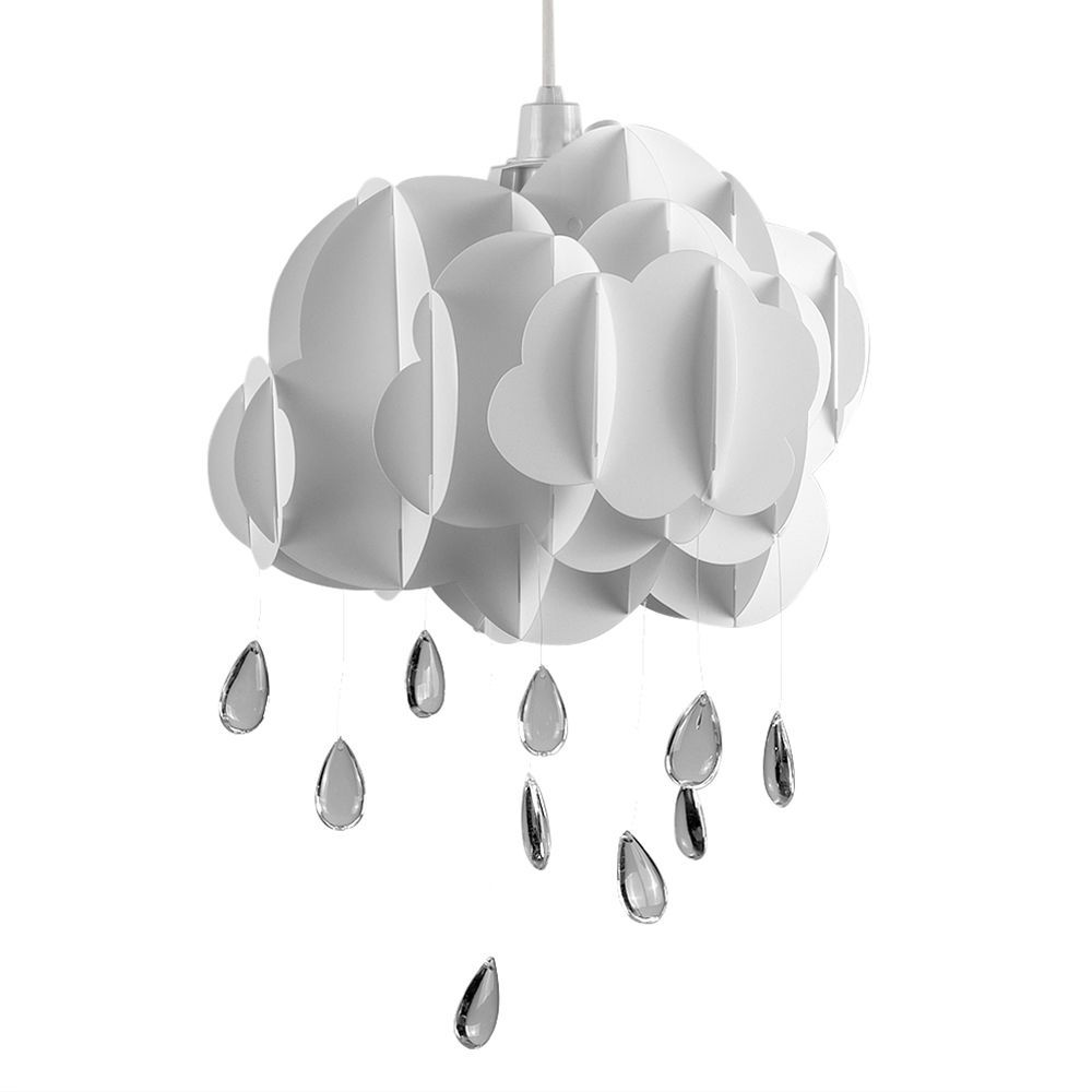 Modern Childrens White Rain Cloud Ceiling Light Pendant Shade Acrylic Drops