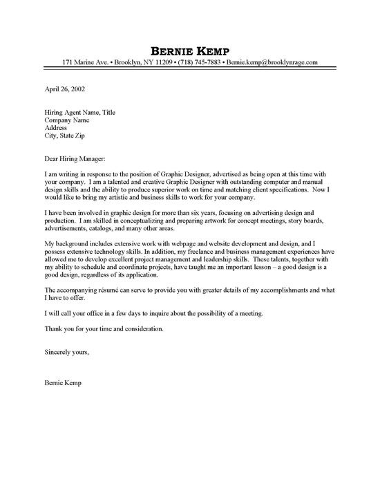 Graphic Design Cover Letter Examples - http\/\/wwwresumecareer - design cover letter