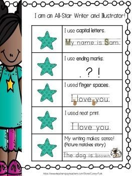 "Use this ""I am an All-Star Writer and Illustrator"" Kid Writing"" Rubric as a way to assess your kindergarten friends' writing progress. This rubric is ""kid friendly"" and can be used as an excellent resource for the young writers and illustrators to self-assess their own writing.:"