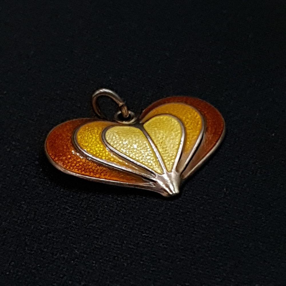 David Andersen Sterling & Enamel Yellow Heart Pendant, Mid