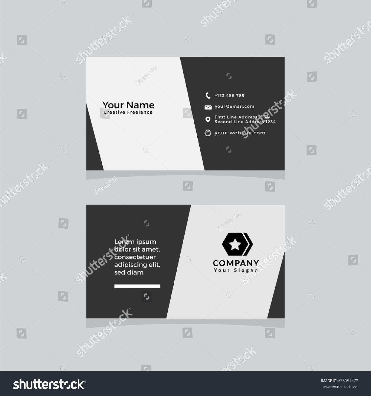 Double Sided Business Card Template Flat Design Vector Illustration Stationery Business Card Template Word Double Sided Business Cards Create Business Cards