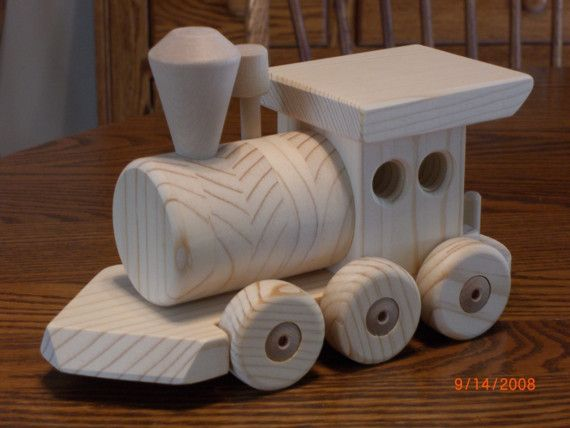 Large 5 Foot Handcrafted All Natural Wood Train 6 Car Set