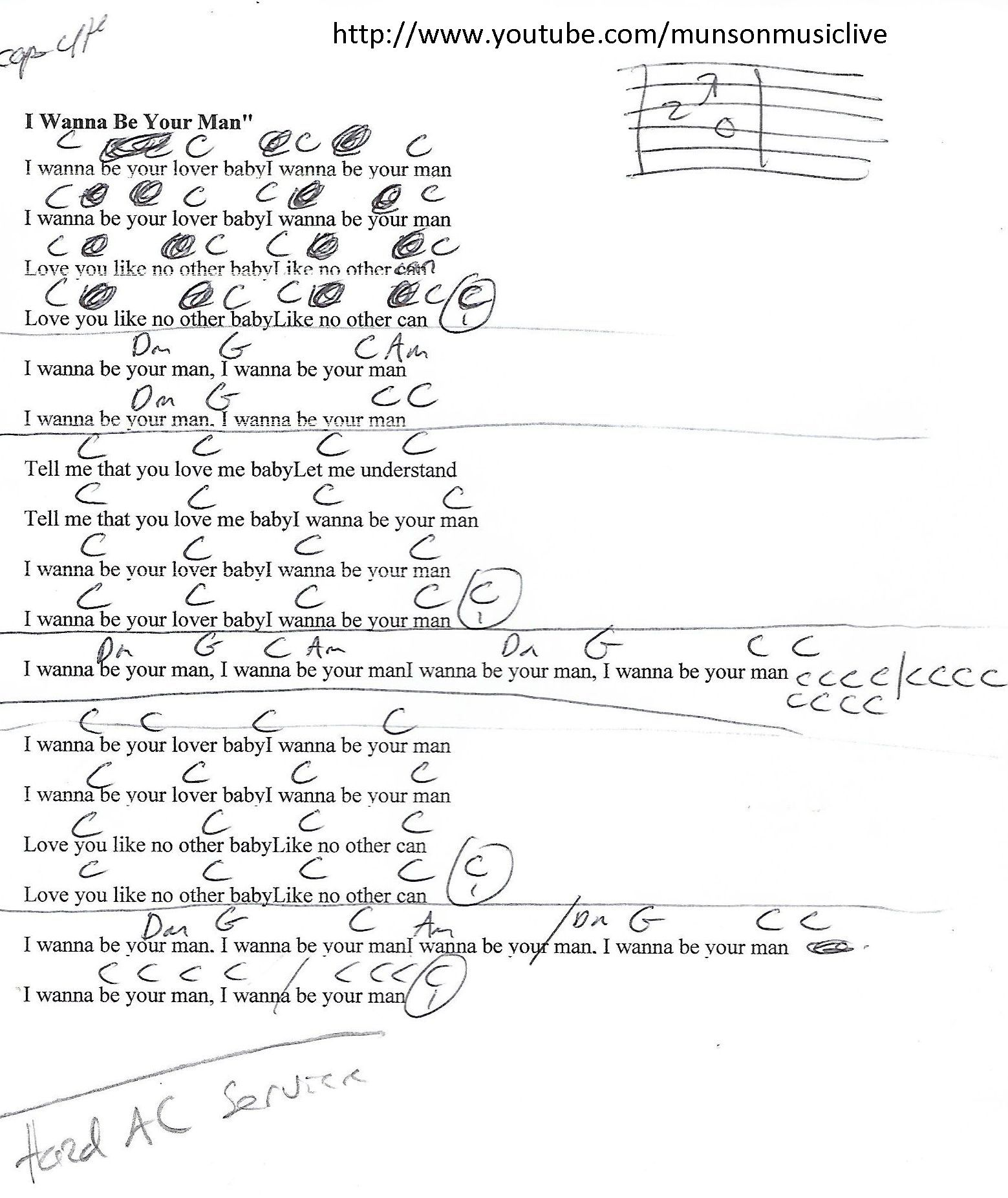 I Wanna Be Your Man Beatles Guitar Lesson Chord Chart Guitar