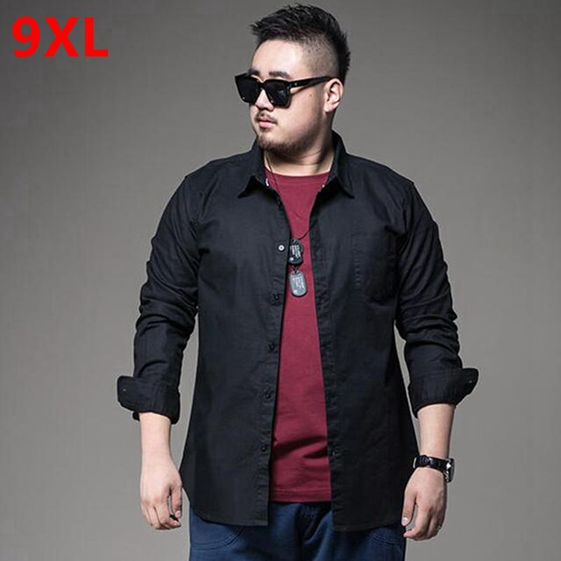 Male Fashion Casual Obese Cotton Solid Color Long-Sleeve Flannel Shirt