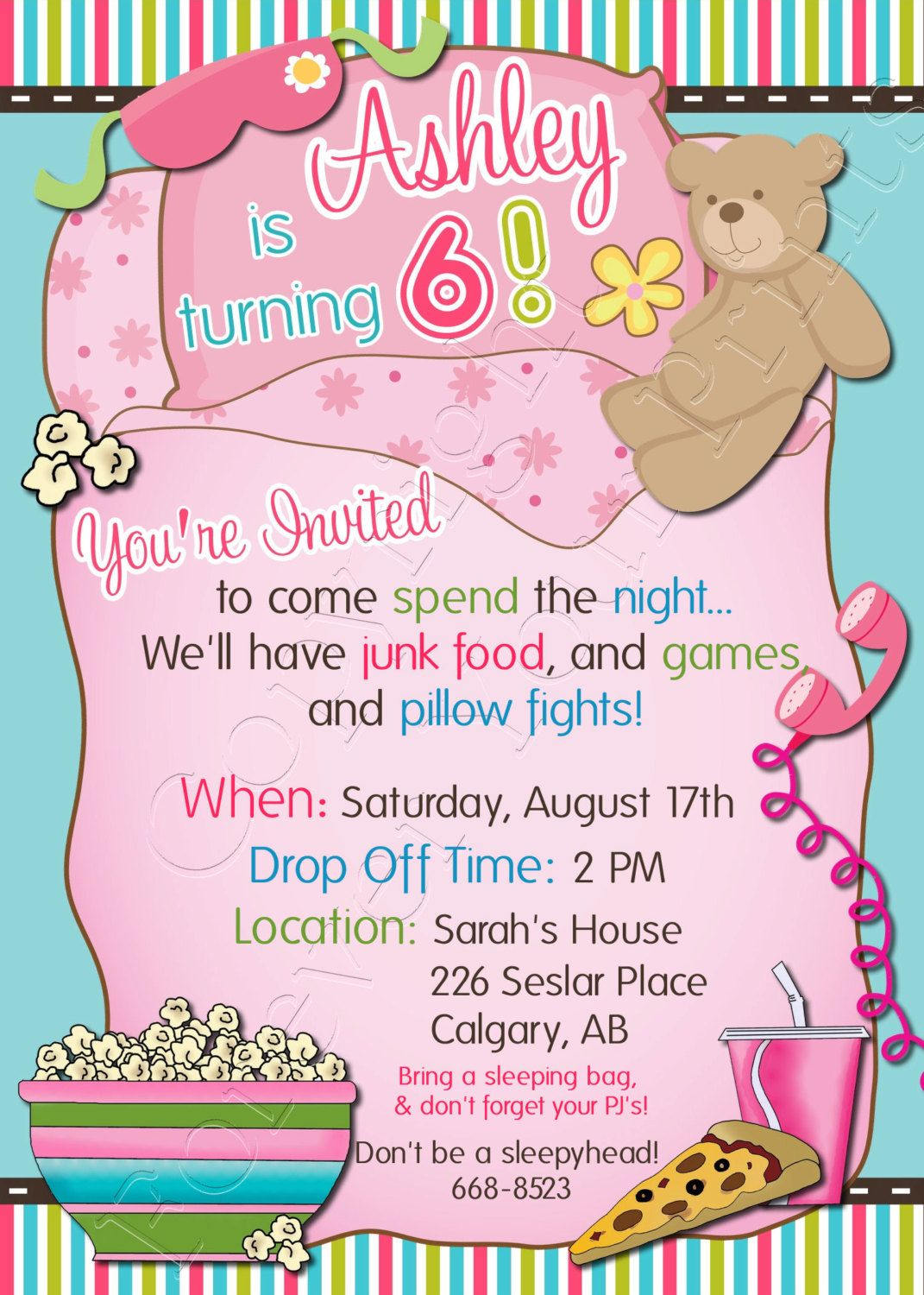 Slumber Party Birthday Invitation Free Thank By Foreveryourprints Also Best Parties Images In Pajama Ideas Sleepover