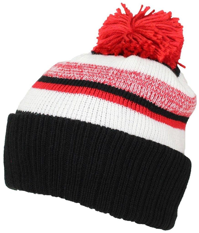 c6e1545a904f6 Quality Striped Variegated Cuffed Beanie W Pom (L XL) - Black Red ...