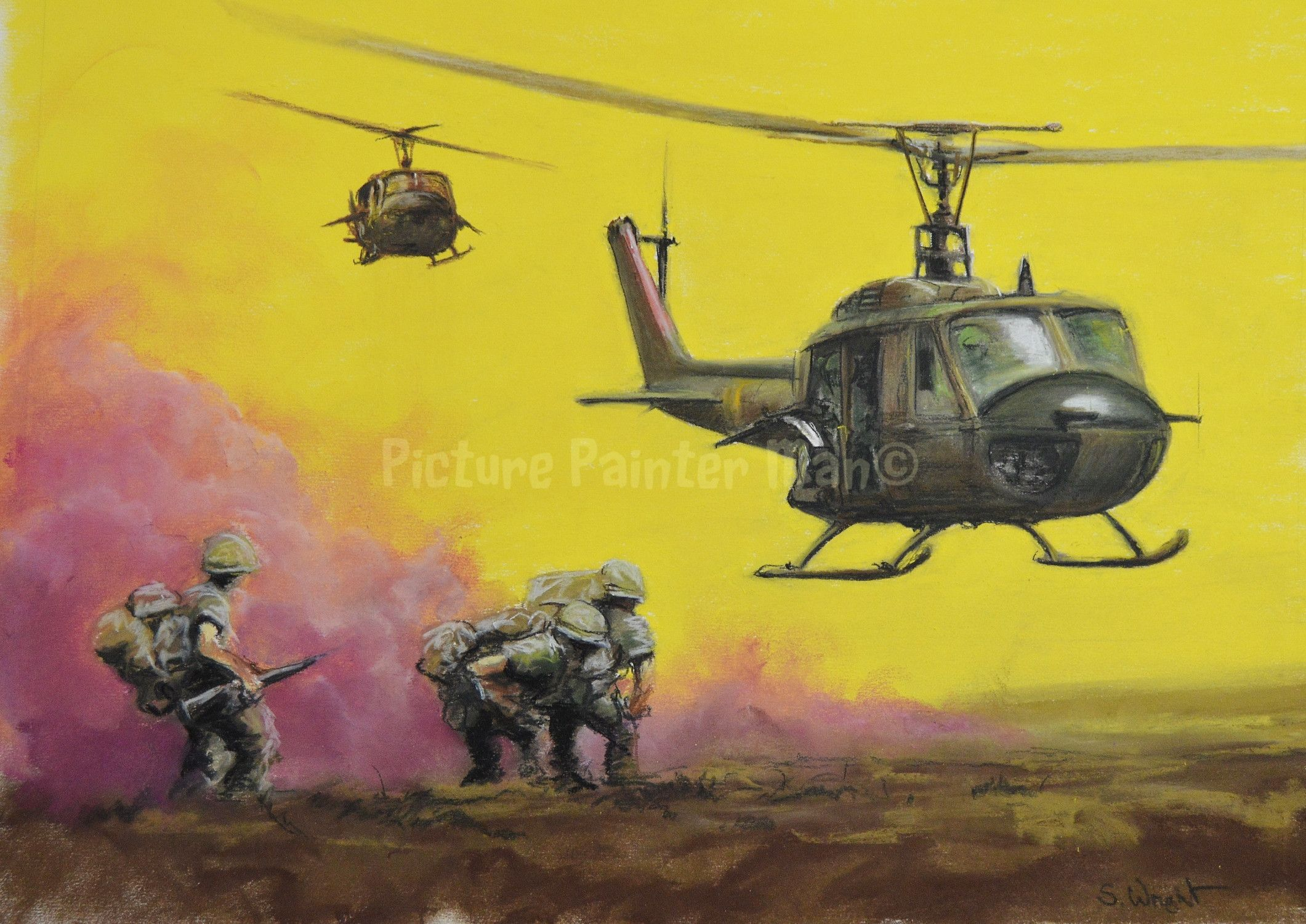 Huey Helicopter pick up Vietnam 1967 (private commission, pastel on paper)   Vietnam war  Bell  Airborne  Huey b1acbe82016