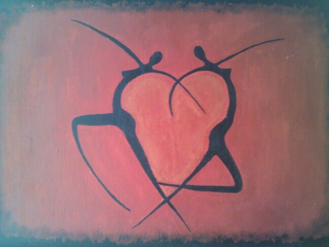 El amor necesita de dos. Pintura en acrilico