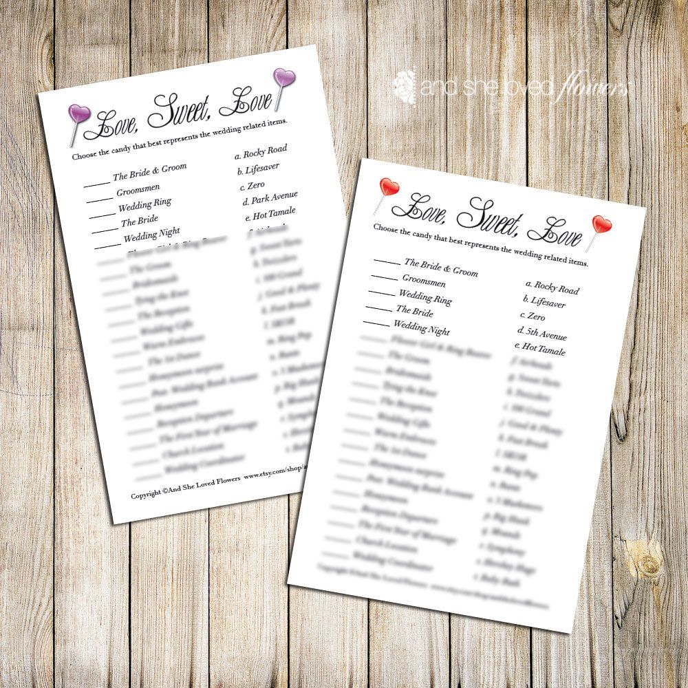 Candy Match Bridal Shower Game -- Printable. $5.00, via Etsy.