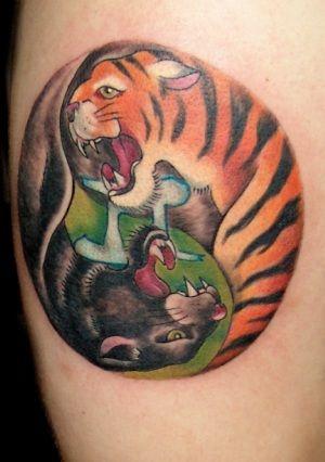 Yin yang panther tiger tattoo design free tattoo designs for Panther tiger tattoo
