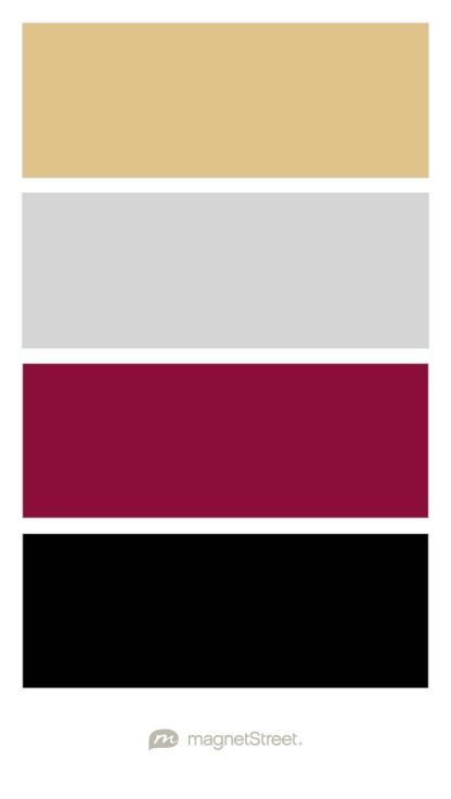 Gold silver burgundy and black wedding color palette custom color boutique junglespirit
