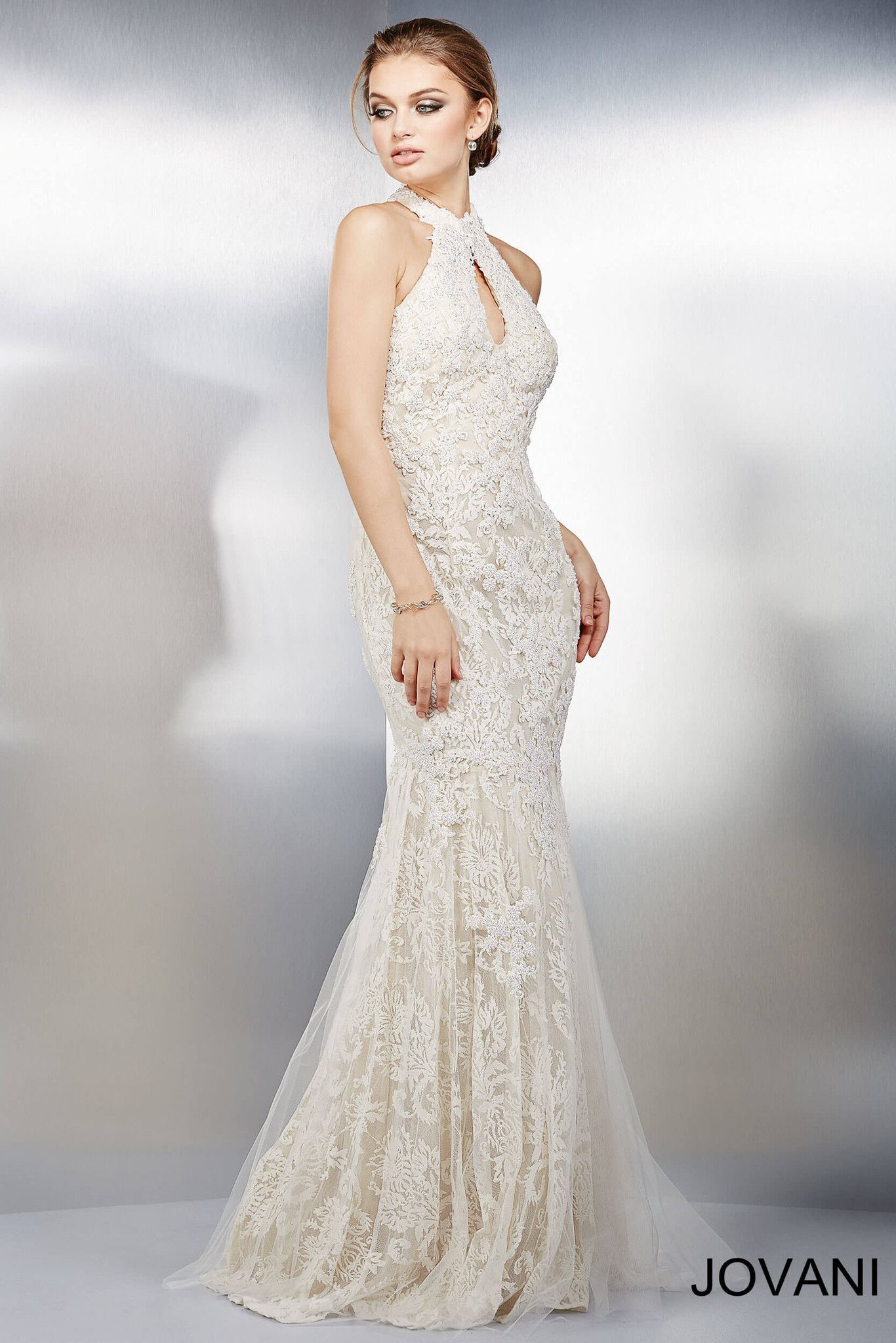 Lace halter wedding dress  Jovani  Ivory Nude Lace Halter Bridal Evening Prom Dress
