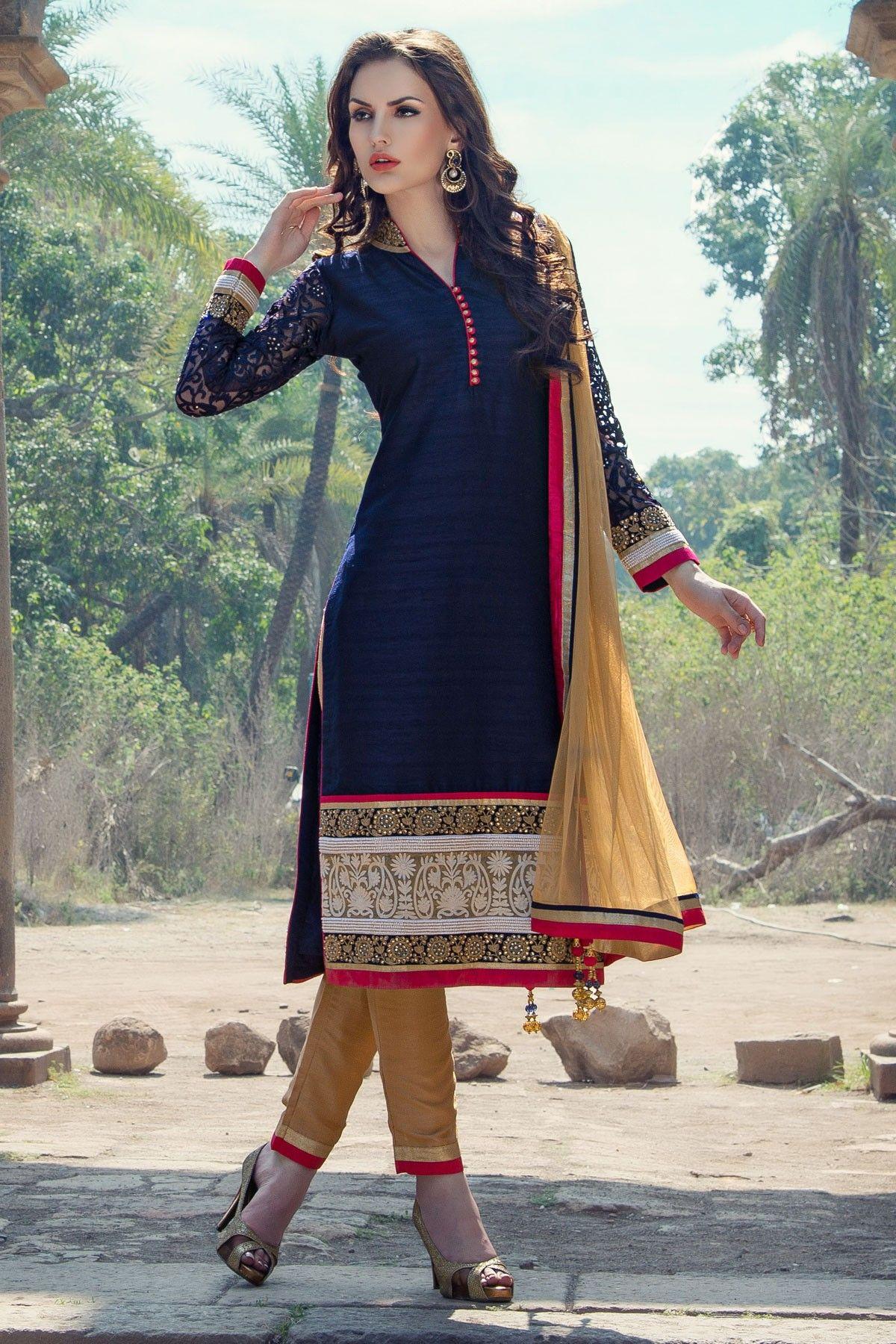 Dark Blue raw silk plain Straight Cut kameez -SL3237   Designer ...