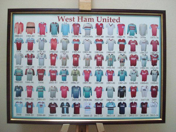 989a9fccc WEST HAM UNITED FC FRAMED FOOTBALL SHIRT POSTER THROUGH THE AGES:Amazon.co. uk:Kitchen & Home