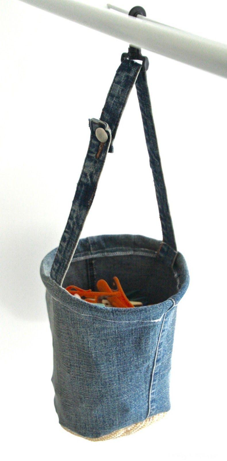 Denim Peg Bag - I originally found this great project on freeneedle ...