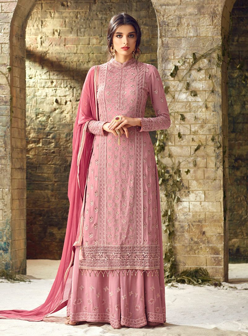 Buy pink georgette pakistani style suit online at lowest