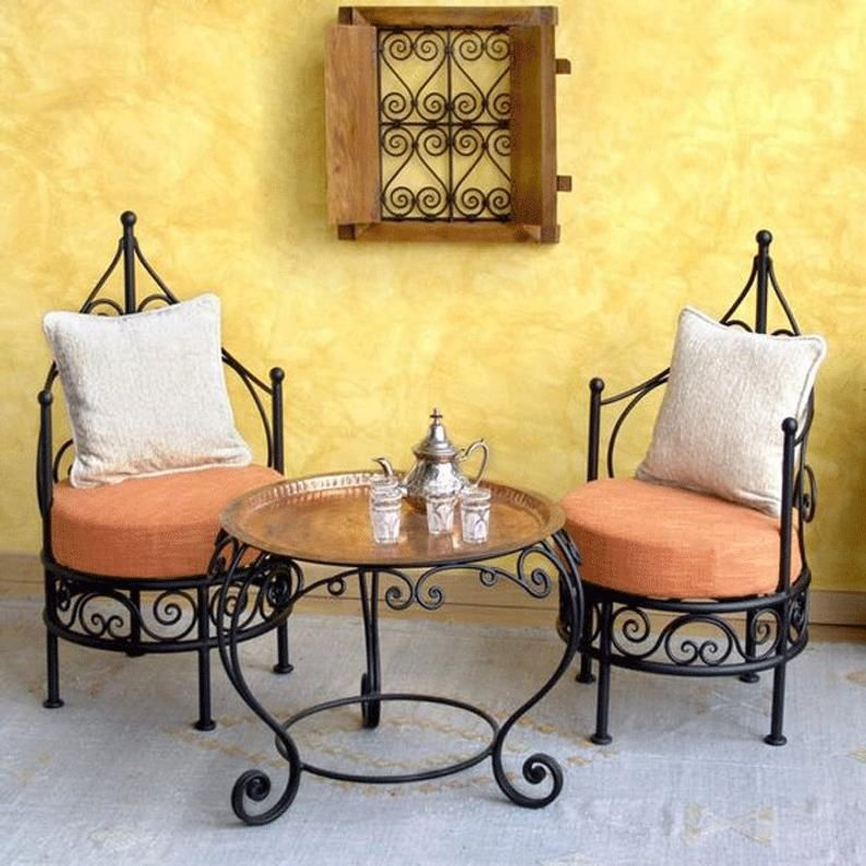 Garden furniture seating, Moroccan Wrought Iron table/ chairs, Terrace Outdoor garden tea/coffee table, Moroccan mosaic table