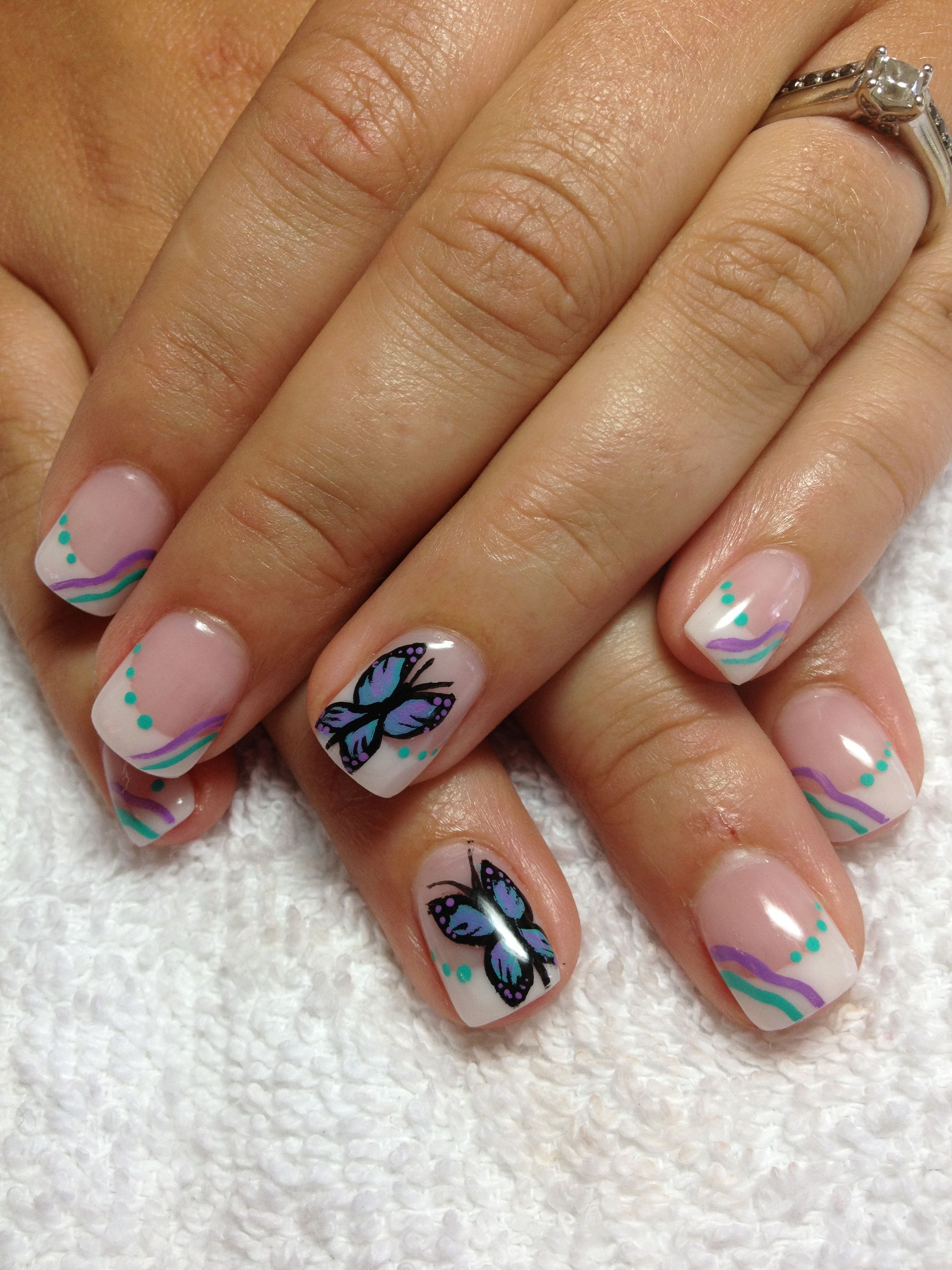 Butterfly Gel Nails Fire Nails French Nail Designs Nails